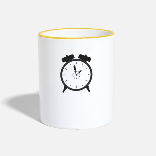 Single Mugs & Drinkware - alarm clock - Two-Tone Mug white/yellow