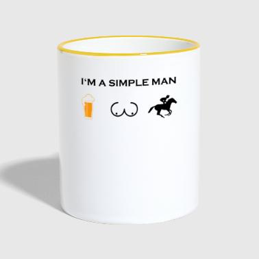 Reitersprüche simple man boobs bier beer titten REITER HORSEWOMA - Tasse zweifarbig