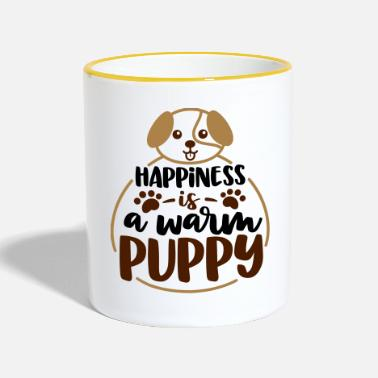 Happiness is a warm puppy - Two-Tone Mug