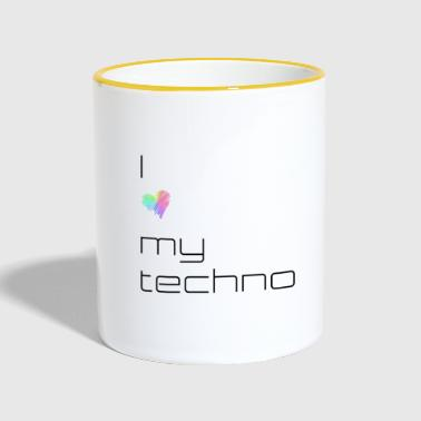 I love my techno - Tasse zweifarbig