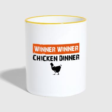 chicken dinner - Tasse zweifarbig