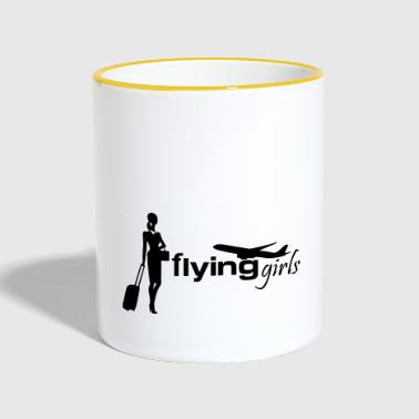 flying girls stewardess - Contrasting Mug