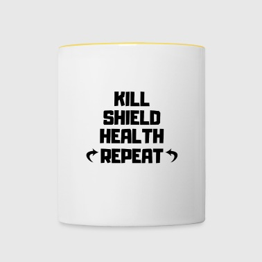 T-Shirt Fortnite Kill / Shield / Health / Repeat - Mug contrasté