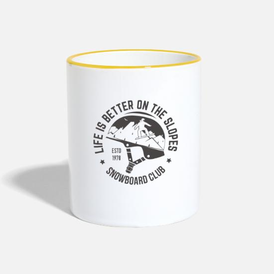 Snowboard Mugs & Drinkware - LIFE IS BETTER ON THE SLOPES - SNOWBOARD CLUB - Two-Tone Mug white/yellow