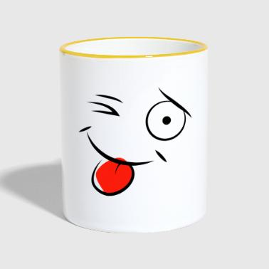 cartoon clin d'oeil qui tir la langue - Mug contrasté