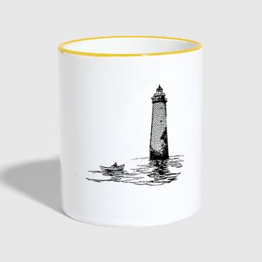 Lighthouse with rowing boat - Contrasting Mug