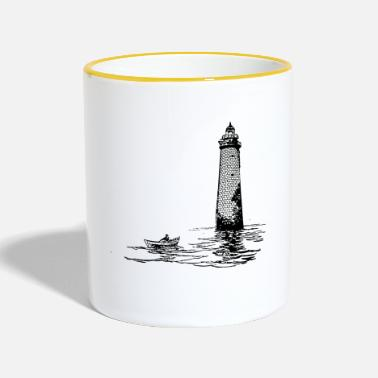 Rowing Lighthouse with rowing boat - Contrasting Mug