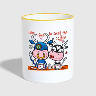 Amusing cows drink coffee - Contrasting Mug