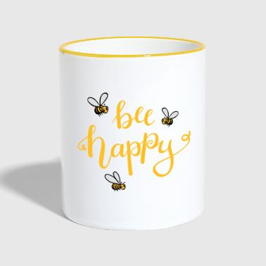 bee happy - Tasse zweifarbig