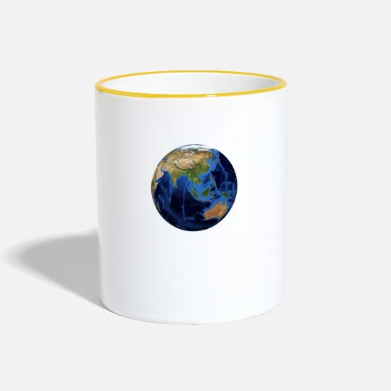 Planet Mugs & Drinkware - The planet Earth - Two-Tone Mug white/yellow