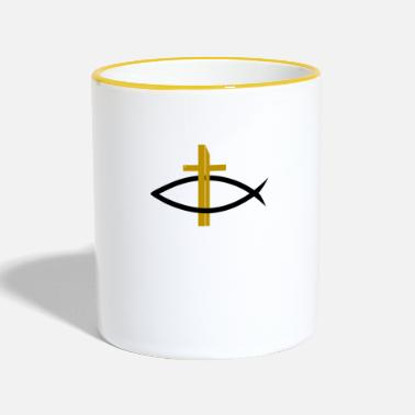 Itchys Christianity fish with golden cross - Contrasting Mug
