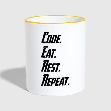 What is your daily working routine? Code. Eat. - Kubek dwukolorowy