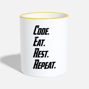 Code What is your daily working routine? Code. Eat. - Kubek dwukolorowy