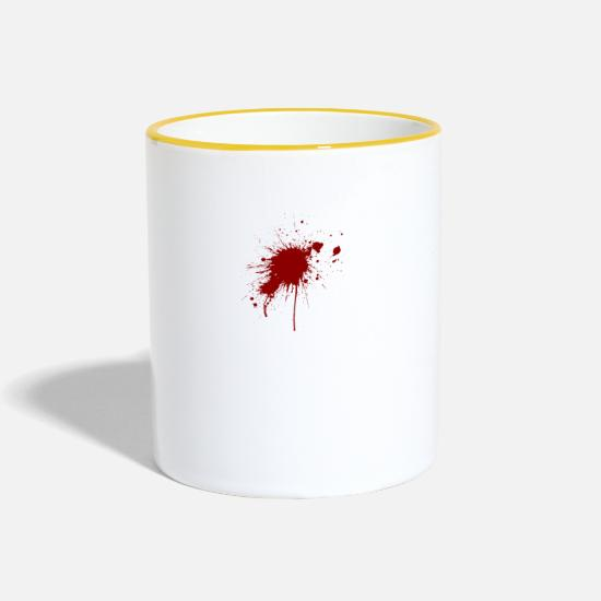 Crime Mugs & Drinkware - Blood Spatter From A Bullet Wound - Two-Tone Mug white/yellow