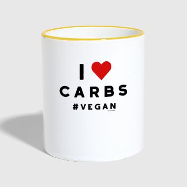 Vegan T-Shirt I Love Carbs #vegan White & Heart - Contrasting Mug
