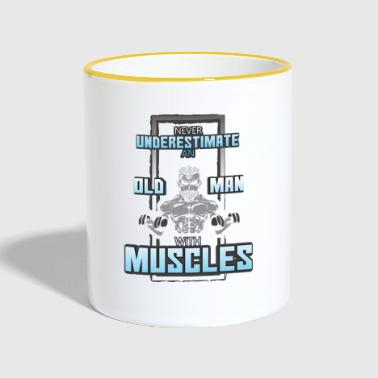 never underestimate an old man with muscles - Contrasting Mug