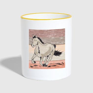 Horse galop Used look retro - Mok tweekleurig