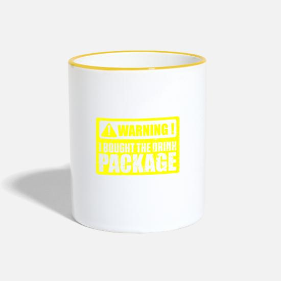 Alcohol Mugs & Drinkware - Beer alcohol party t-shirt warning - Two-Tone Mug white/yellow