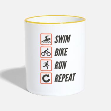 Triathlon Swim Bike Run Répéter - Mug bicolore