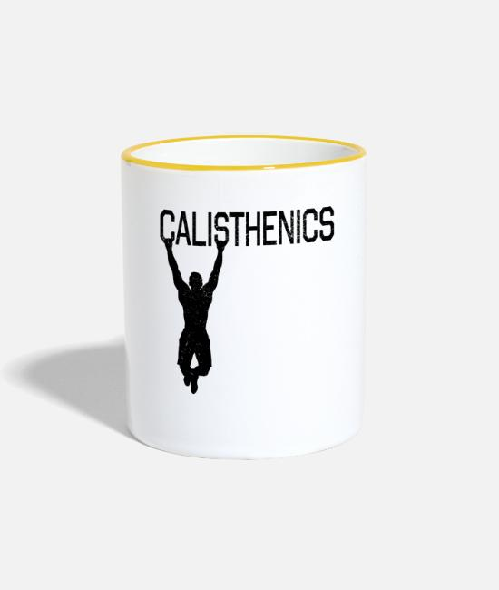 Weights Mugs & Drinkware - Calisthenics silhouette chin-up fitness sport - Two-Tone Mug white/yellow