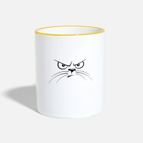 Angry Tassen & Becher - ANGRY CAT - ANGRY CAT - Tasse zweifarbig Weiß/Gelb