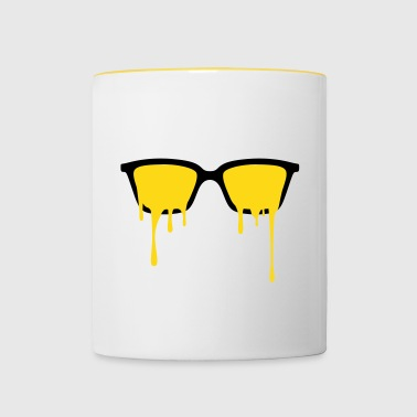 Psychedelic nerd glasses with LSD color drops - Mug contrasté