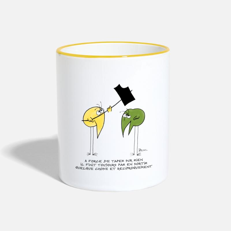Citations Mugs et gourdes - Pourquoi taper sur un Shadok ? - Mug bicolore blanc/jaune