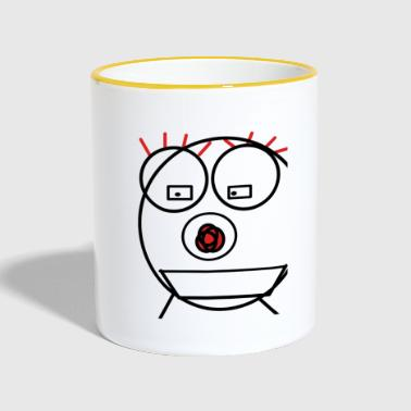 Smiley clown mit roten wimpern - Tasse zweifarbig