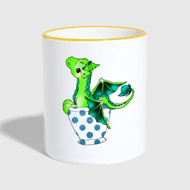 Dragon in the cup Mythical creature - Contrasting Mug