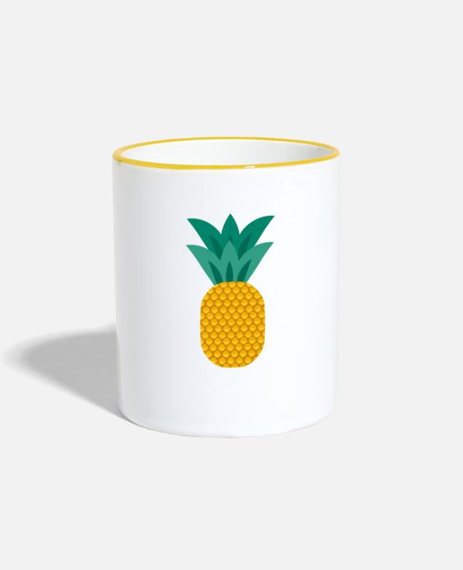 Eco Mugs & Drinkware - Pineapple vegan healthy pineapple - Two-Tone Mug white/yellow