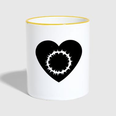 Theology Heart with white crown of thorns - Contrasting Mug