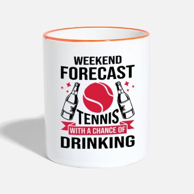 Tennis Weekend Forecast Tennis And Drinking - Two-Tone Mug