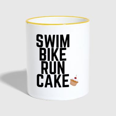 Swim Bike Run Cake - Mok tweekleurig