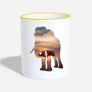 Savanna Elephant in the savanna - Two-Tone Mug