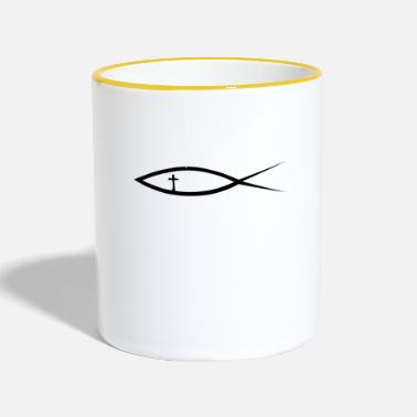 Christianity fish with cross (Itchys) - Contrasting Mug