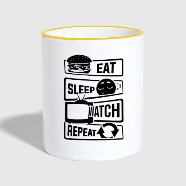 Watch Tv Eat Sleep Watch Repeat - TV Shows Couch TV - Contrasting Mug