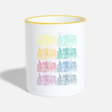 Neighborhood City copy rainbow houses colors not urban - Two-Tone Mug