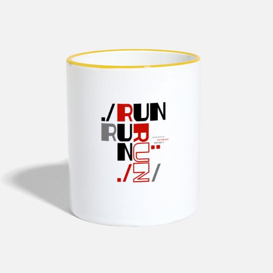 Gift Idea Mugs & Drinkware - Run Run Run Running Marathon Jogging Sport - Two-Tone Mug white/yellow