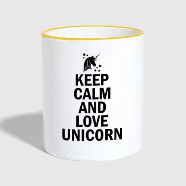 Keep Calm And Love Unicorn - Mok tweekleurig