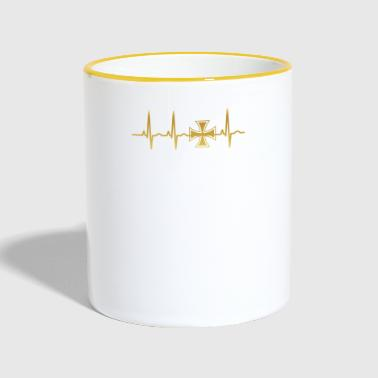 evolution ekg heartbeat iron cross eisernes kreuz - Tasse zweifarbig