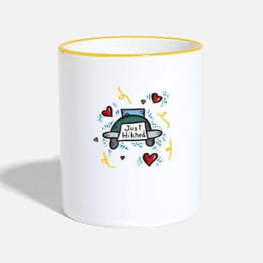 Just Just Married Just Hitched - Tasse zweifarbig
