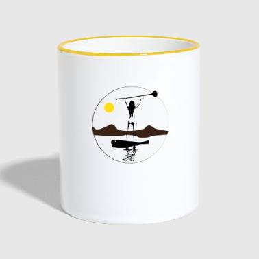 Woman rowing at sunset. Gift - Contrasting Mug