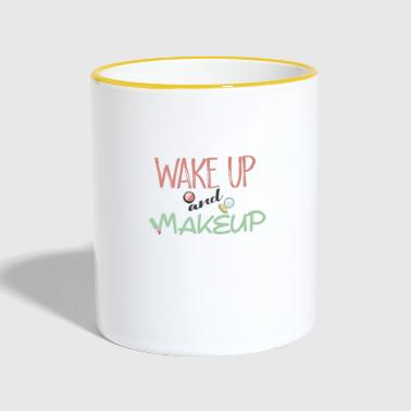 wake up and make up - Tasse zweifarbig