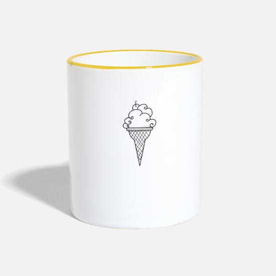 Gift Idea Mugs & Drinkware - Ice cream waffle ice cream ice cream parlor summer - Two-Tone Mug white/yellow