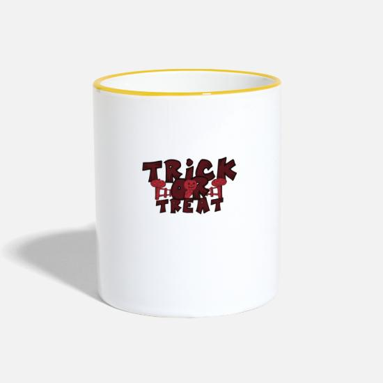 Terrifiant Mugs et récipients - Trick ou Treat Halloween Trick or Treat - Mug bicolore blanc/jaune