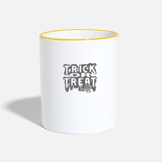 Citrouille Mugs et récipients - Trick Or Treat - Mug bicolore blanc/jaune
