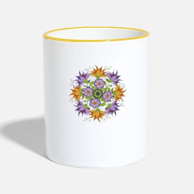 Flowers mandala with abstract flowers - Tasse zweifarbig