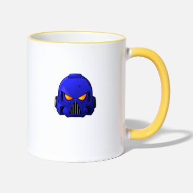 War Space Marine Helmet (White Text) - Two-Tone Mug