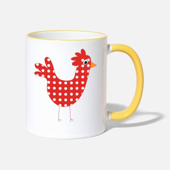 Egg Mugs & Drinkware - funny chicken - Two-Tone Mug white/yellow