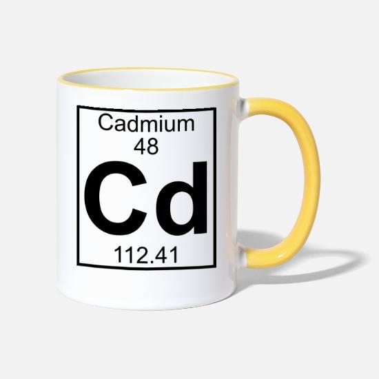 Chemistry Mugs & Drinkware - Cadmium (Cd) (element 48) - Two-Tone Mug white/yellow